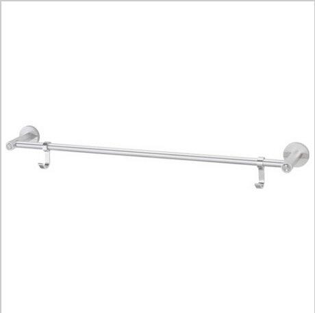 Contemporary Aluminium Chrome Finish  Single Towel Bar With Hooks  0585A