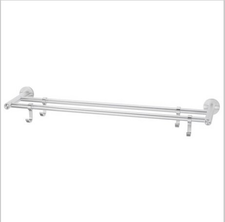 Modern Aluminium  Double Wall Mount Towel Bar With Hooks  0586A