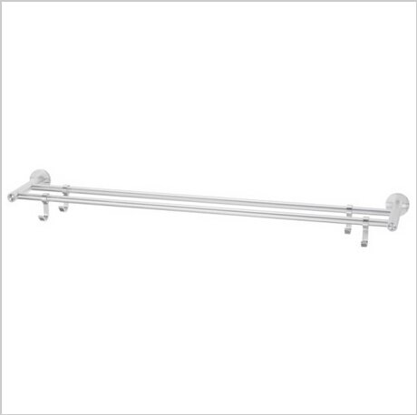 Modern Aluminium  Double Wall Mount Towel Bar With Hooks  0796A