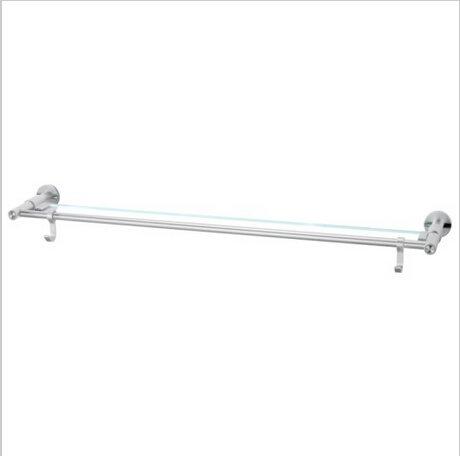 Modern Aluminium  Double Wall Mount Towel Bar With Hooks And Temperedglass 0796B