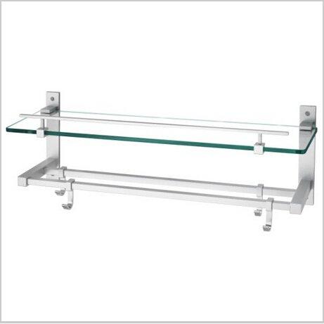 Contemporary Aluminium And Glass Material Bathroom Shelf Chrome Finish 1441