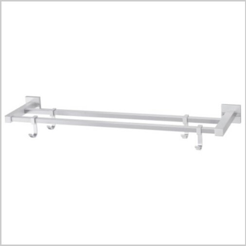 Modern Aluminium  Double Wall Mount Towel Bar With Hooks 1586A