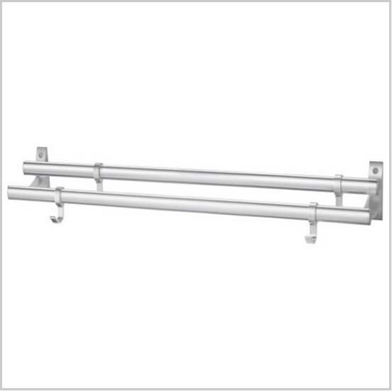 Modern Aluminium  Double Wall Mount Towel Bar With Hooks 586A