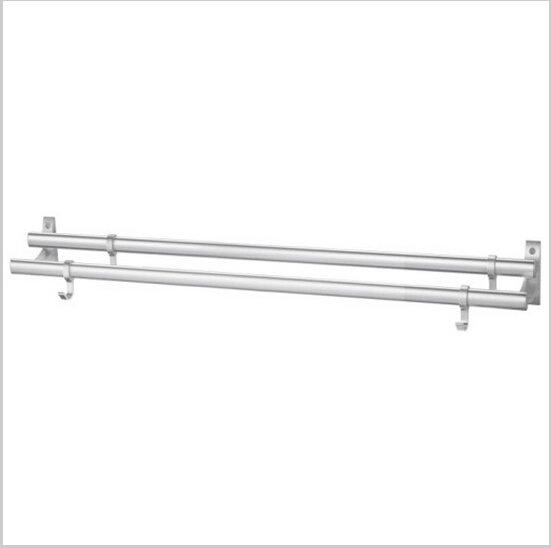 Modern Aluminium  Double Wall Mount Towel Bar With Hooks 796A