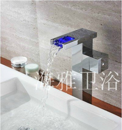 Color Changing LED Waterfall Bathroom Sink Faucet (Tall) HL1004