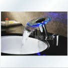 LED Waterfall Two Handles Hydroelectric Power Glass Bathroom Sink Faucet Chrome Finish---H31088