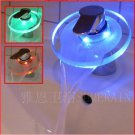 Color Changing LED Waterfall Bathroom Sink Faucet (Glass Spout)--S1003CM