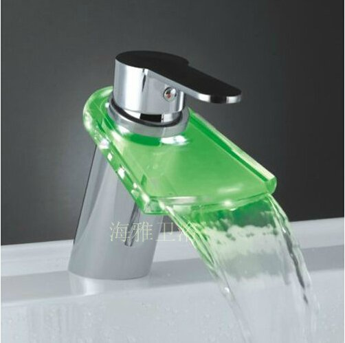 Color Changing LED Waterfall Bathroom Sink Faucet (Glass Spout)--H31092