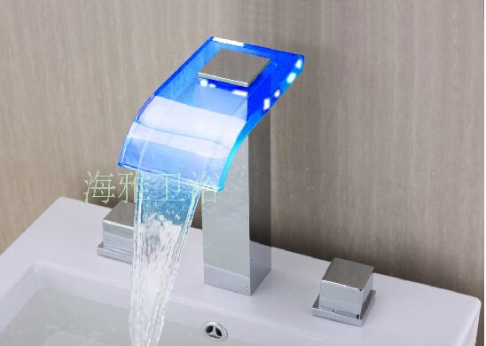 LED Waterfall Two Handles Hydroelectric Power Glass Bathroom Sink Faucet Chrome Finish---H31093