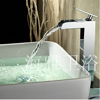 Modern Single Handle Waterfall Bathroom Sink Faucet (Chrome Finish) H66023