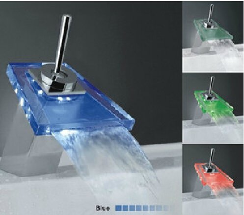 Color Changing LED Waterfall Bathroom Sink Faucet (Glass Spout)--S1014CM