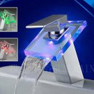 Color Changing LED Waterfall Bathroom Sink Faucet (Glass Spout)--S1008CM