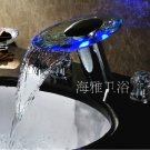 LED Waterfall Two Handles Hydroelectric Power Glass Bathroom Sink Faucet Chrome Finish---H31096