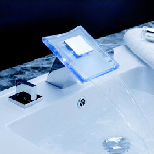 LED Waterfall Two Handles Hydroelectric Power Glass Bathroom Sink Faucet Chrome Finish---H31098