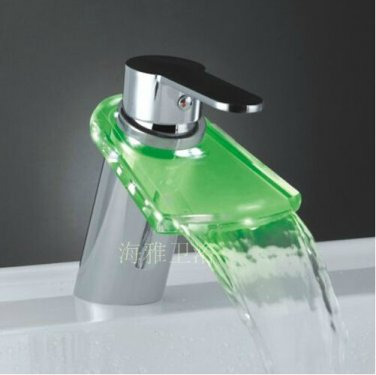 Color Changing LED Waterfall Bathroom Sink Faucet (Glass Spout)--H31099