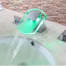 LED Waterfall Two Handles Hydroelectric Power Glass Bathroom Sink Faucet Chrome Finish---H31100