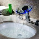 LED Waterfall Two Handles Hydroelectric Power Glass Bathroom Sink Faucet Chrome Finish---H31101