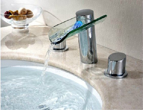 LED Waterfall Two Handles Hydroelectric Power Glass Bathroom Sink Faucet Chrome Finish---H31102