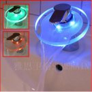 Color Changing LED Waterfall Bathroom Sink Faucet (Glass Spout)--H31105