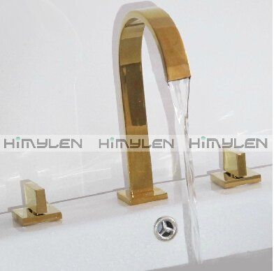 Contemporary Ti-PVD Three Holes Two Handles Waterfall Bathroom Sink Faucet---0049