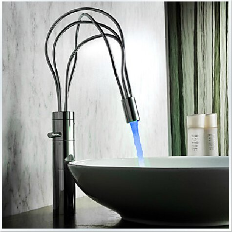 LED Single Handle Chrome Centerset Faucet (Cold and Hot Switch) ---H31008