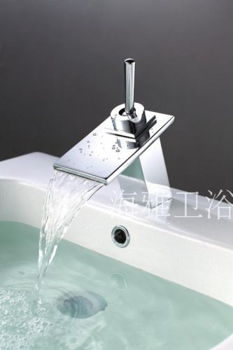 NEW*Contemporary Chrome Finish Waterfall Stainless Steel Basin Faucet 1246