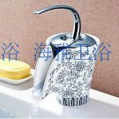 Contemporary Chrome Finish Single Handle Waterfall Bathroom Sink Faucets with Ceramic Spout-HG1107