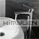 Solid Brass Single Handle Contemporary Chrome Finish Bathroom Sink Faucet---111018