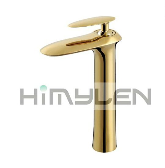 Solid Brass Single Handle Contemporary Ti-PVD Finish Bathroom Sink Faucet---111024