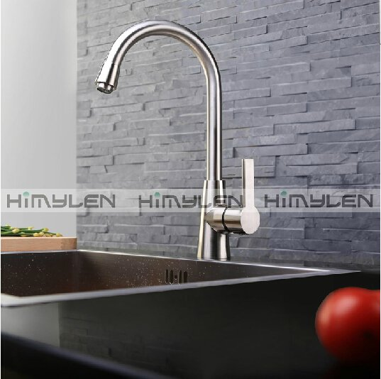 Contemporary Nickel Brushed One Hole Single Handle Brass Kitchen Faucet--000028