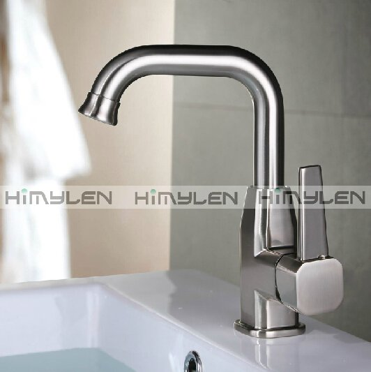 Contemporary Nickel Brushed One Hole Single Handle Brass Kitchen Faucet--000032