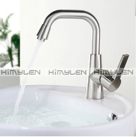 Contemporary Nickel Brushed One Hole Single Handle Brass Kitchen Faucet--000034