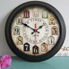 "15""H Retro Country Style Metal Wall Clock - YGMW(BOLI001TYB)"