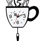 Originality Wall Clock Coffee Cup Pendulum Clock Mute LC1010