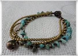 Turquoise Brass Bead Anklet