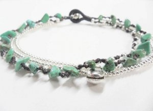 Turquoise silver  Bead Anklet