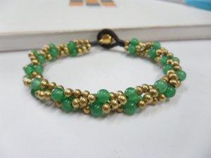 Round  Jade  brass Chain Bracelet
