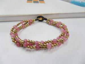 Round  Rose Quartz  brass Chain Bracelet