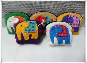 Set of 5 Cotton Elephant Purse