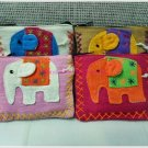 Set of 4 Cotton Elephant Multi Color Purse