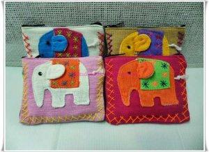 Set of 4 Cotton Elephant Multi Color Purse