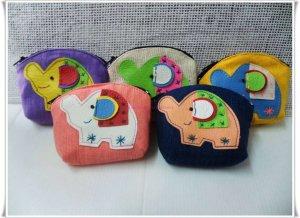 Set of 5 Multi Color Elephant Purse