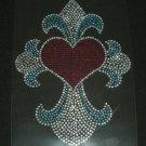 Cross with Heart Rhinestone Crystal Shirt