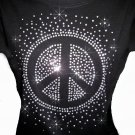 Peace Sign Outline Rhinestone Crystal Shirt