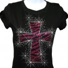 Zebra Hot Pink Cross Rhinestone Crystal Shirt