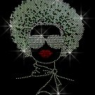 HUGE Afro Woman with Sunglasses Crystal Rhinestone Shirt.
