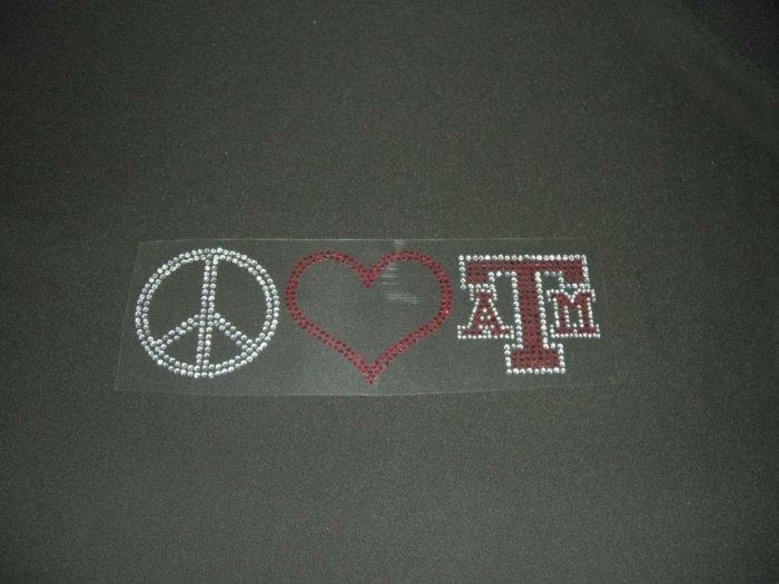 Peace Love & Texas A & M Crystal Rhinestone Shirt