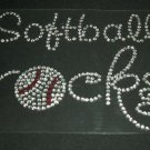 Softball Rocks Crystal Rhinestone Shirt