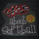 Wild About Softball Crystal Rhinestone Shirt