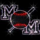Bat Mom Baseball Crystal Rhinestone Shirt